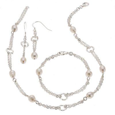 ZEEme Pearls Set 4-teilig 925/- Sterling Silber Perle weiß