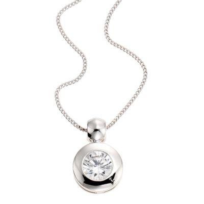 ZEEme Silver Anhänger mit Kette 925/- Sterling Silber Zirkonia weiß