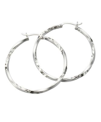 ZEEme Silver Creolen 925/- Sterling Silber mattiert diamantiert