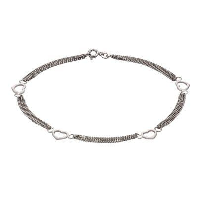 ZEEme Silver Fußkette 925/- Sterling Silber Herzmotiv