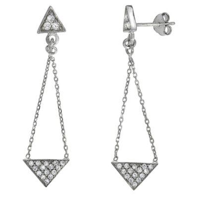 Zeeme Silver Ohrhänger 925/- Sterling Silber Zirkonia weiß 4,5cm Glänzend
