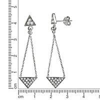 Zeeme Silver Ohrhänger 925/- Sterling Silber Zirkonia weiß 4,5cm Glänzend - Produktdetailbild 1
