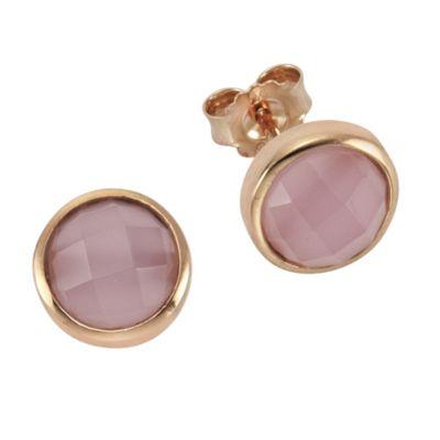 ZEEme Silver Ohrstecker 925/- Sterling Silber Glasstein pink