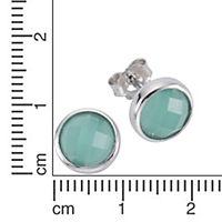 ZEEme Silver Ohrstecker 925/- Sterling Silber Glasstein grün - Produktdetailbild 1