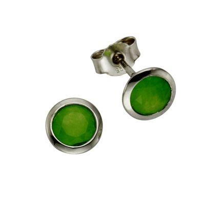 ZEEme Silver Ohrstecker 925/- Sterling Silber Jade grün
