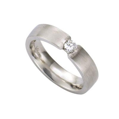 ZEEme Silver Ring 925/- Sterling Silber mattiert Zirkonia (Größe: 054 (17,2))