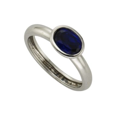 ZEEme Silver Ring 925/- Sterling Silber syn. Spinell dunkelblau (Größe: 052 (16,6))