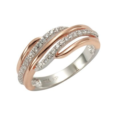 ZEEme Silver Ring 925/- Sterling Silber vergoldet (Größe: 054 (17,2))