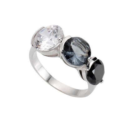 ZEEme Silver Ring 925/- Sterling Silber Zirkonia mehrfarbig (Größe: 052 (16,6))
