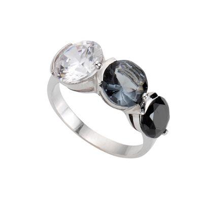 ZEEme Silver Ring 925/- Sterling Silber Zirkonia mehrfarbig (Größe: 054 (17,2))