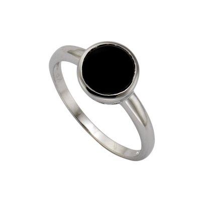 Zeeme Silver Ring 925/- Sterling Silber Zirkonia schwarz Glänzend (Größe: 054 (17,2))
