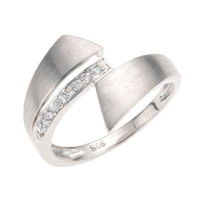 ZEEme Silver Ring 925/- Sterling Silber Zirkonia weiß (Größe: 054 (17,2))