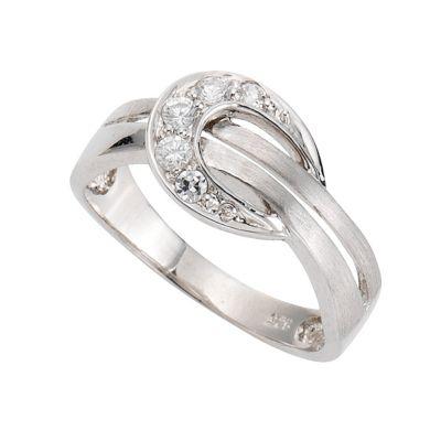 ZEEme Silver Ring 925/- Sterling Silber Zirkonia weiß (Größe: 058 (18,5))
