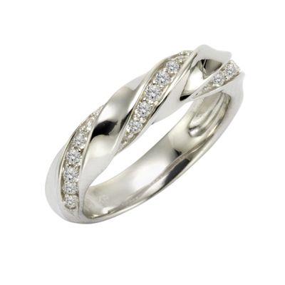 Zeeme Silver Ring 925/- Sterling Silber Zirkonia weiß Glänzend (Größe: 016 (50,5))