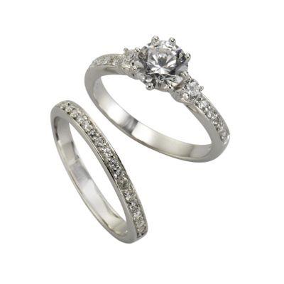 ZEEme Silver Ring 925/- Sterling Silber zweitlg. Zirkonia weiß (Größe: 058 (18,5))