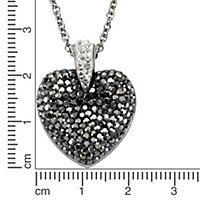 ZEEme Stainless Steel Anhänger mit Kette Edelstahl Herz Kristalle weiß grau - Produktdetailbild 1