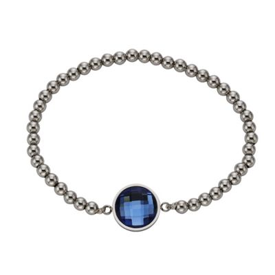 ZEEme Stainless Steel Armband Edelstahl Stretcharmband Glas blau