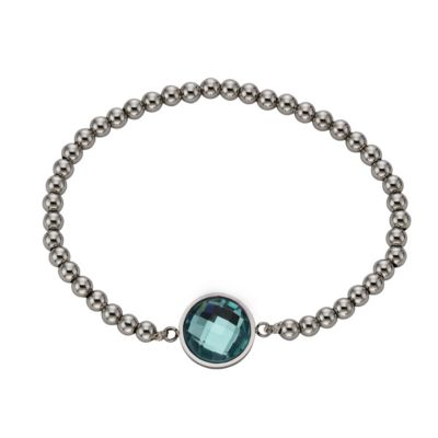 ZEEme Stainless Steel Armband Edelstahl Stretcharmband Glas mint