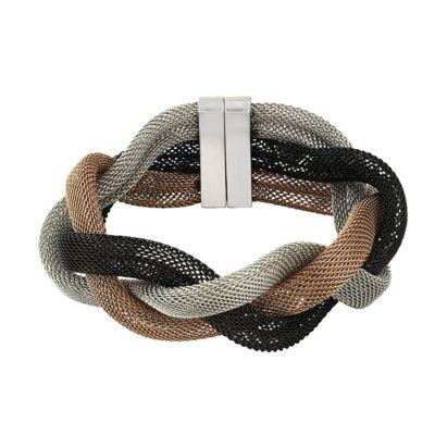 ZEEme Stainless Steel Armband Edelstahl dreifarbig 20cm