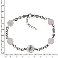 ZEEme Stainless Steel Armband Edelstahl Kristall und Rosenquarz - Produktdetailbild 1
