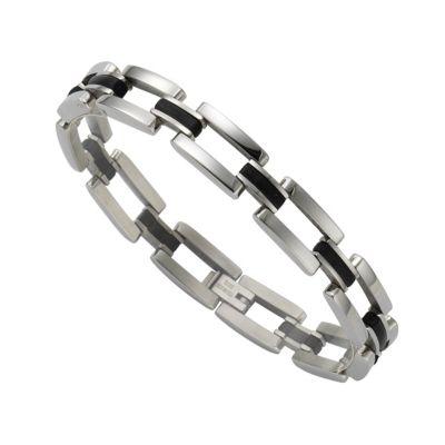 ZEEme Stainless Steel Armband Edelstahl mit Kautschuk schwarz