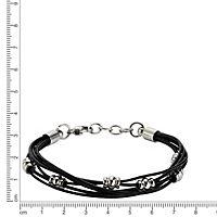 ZEEme Stainless Steel Armband Edelstahl und Leder schwarz - Produktdetailbild 1