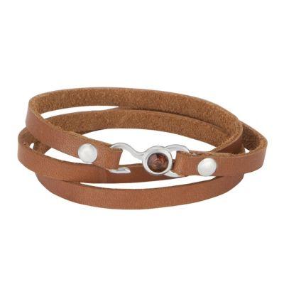 ZEEme Stainless Steel Armband Leder bronze mit Stahlverschluß