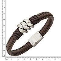 ZEEme Stainless Steel Armband Leder mit Edelstahlverschluß - Produktdetailbild 1