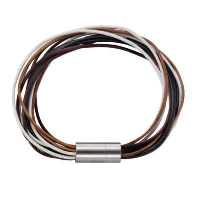 ZEEme Stainless Steel Armband Lederarmband braun mit Magnetverschluß