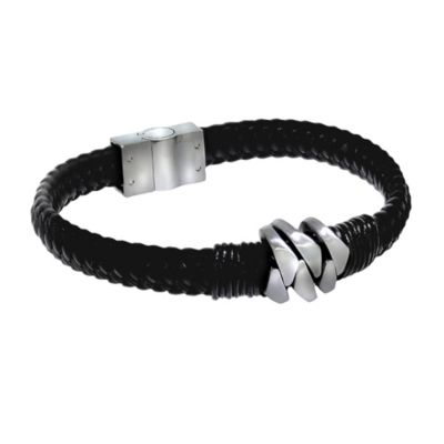 ZEEme Stainless Steel Armband Lederband mit Edelstahlverschluß