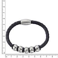 ZEEme Stainless Steel Armband Lederband mit Edelstahlverschluß - Produktdetailbild 1