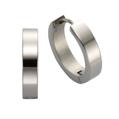 ZEEme Stainless Steel Creole Edelstahl hochglanzpoliert 18mm Durchmesser