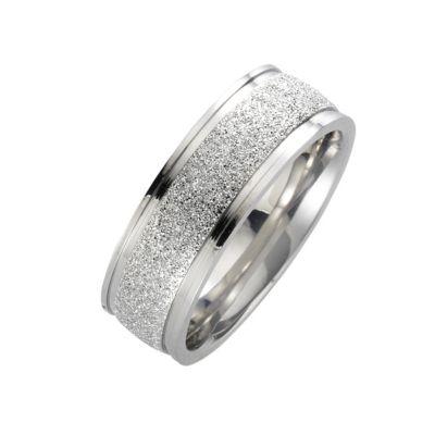 ZEEme Stainless Steel Ring Edelstahl gesandet glanz (Größe: 054 (17,2))