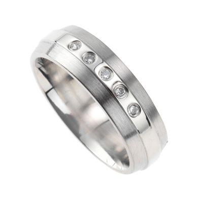 ZEEme Stainless Steel Ring Edelstahl glanz matt Zirkonia weiß (Größe: 068 (21,7))
