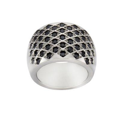 ZEEme Stainless Steel Ring Edelstahl Kristall schwarz (Größe: 054 (17,2))