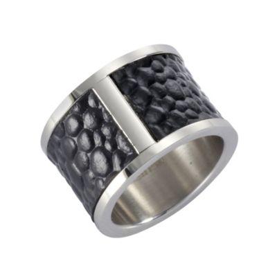 ZEEme Stainless Steel Ring Edelstahl Leder schwarz (Größe: 050 (15,9))
