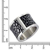 ZEEme Stainless Steel Ring Edelstahl Leder schwarz (Größe: 052 (16,6)) - Produktdetailbild 1