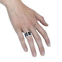 ZEEme Stainless Steel Ring Edelstahl Leder schwarz (Größe: 052 (16,6)) - Produktdetailbild 2
