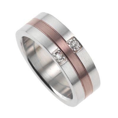 ZEEme Stainless Steel Ring Edelstahl mehrfarbig Kristall weiß (Größe: 054 (17,2))