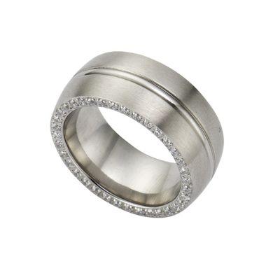ZEEme Stainless Steel Ring Edelstahl Zirkonia weiß (Größe: 060 (19,1))