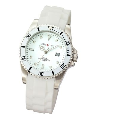 ZEEme Watches Herren-Armbanduhr weiß Silikon Datumsanzeige
